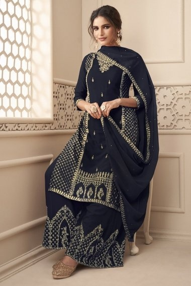 Blue Georgette Embroidered Suit