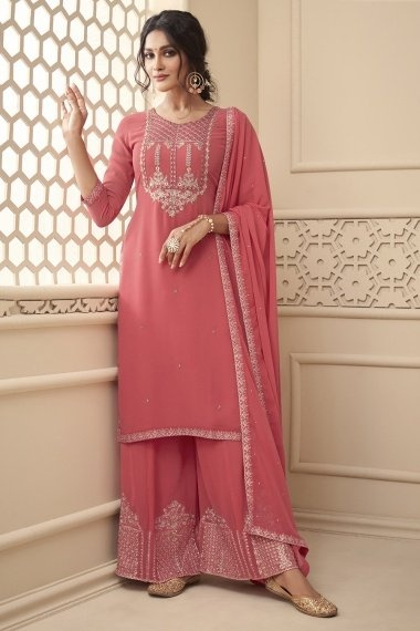 Pink Georgette Straight Cut Suit