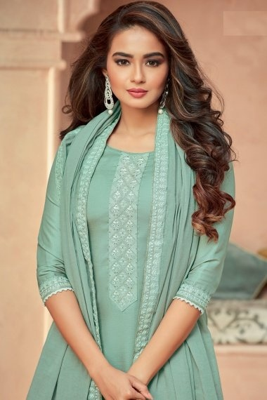 Mint Green Art Silk Suit with Stone
