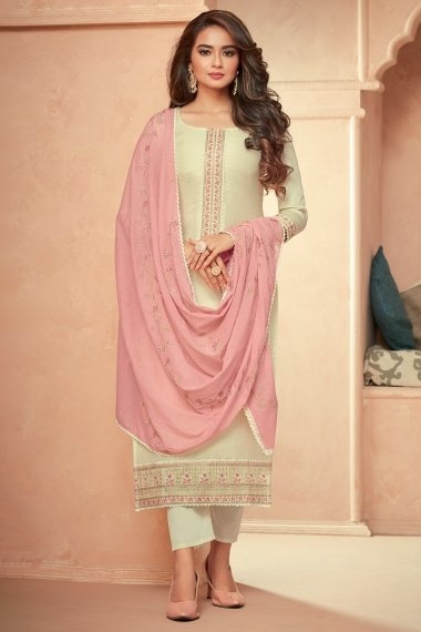 Cream Art Silk Suit with Embroidery