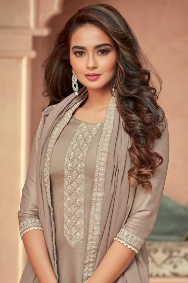 Taupe Art Silk Embroidered Suit