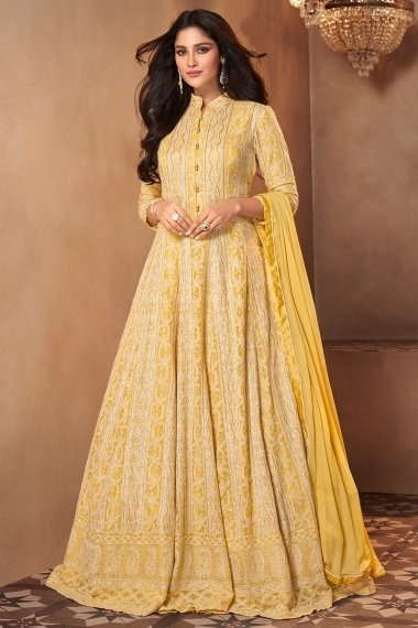 Yellow Georgette Lucknowi Worked Suit
