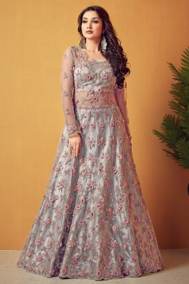 Grey Net Embroidered Suit
