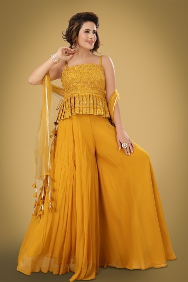 Mustard Georgette Crop Top with Palazzo