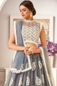 Grey Net Lehenga Choli with Floral Embroidered Butta