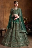 Bottle Green Raw Silk All Over Embroidered Lehenga Choli with Sequin Work