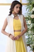 Yellow Georgette Designer Lehenga Choli with Thread Embroidered Long Jacket