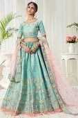 Blue Mulberry Silk Sequins Worked Designer Lehenga choli with Thread Embroidery