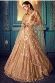 Beige Net Zigzag Sequins Worked Lehenga with Cold Shoulder Blouse