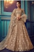 Beige Net Sequins Worked Lehenga with Designer Layered Bell Sleeves Blouse