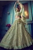 Green Net All Over Sequins Worked Lehenga Choli with Frill Border