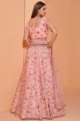 Pink Net Embroidered Lehenga with Stone