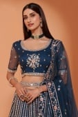 Prussian Blue Net Lehenga with Embroidery
