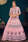Pink Georgette Lehenga with Thread Embroidery