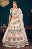 Off White Georgette Embroidered Lehenga