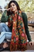 Pine Green Cotton Embroidered Dupatta with Fringes Border