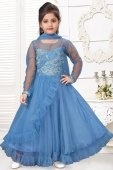 Light Blue Imported Layered Anarkali Suit with Embroidery