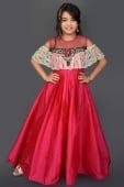 Pink Taffeta Cold Shoulder Gown with Embroidery