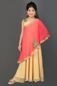 Beige and Pink Georgette Embroidered Gown
