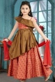 Dark Peach and Brown Jacquard Fancy Layered Gown
