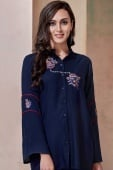 Navy Blue Rayon Shirt Style Tunic with Thread Embroidery