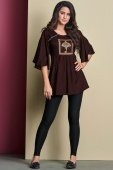 Brown Rayon Pleated Tunic with Cape Sleeves