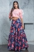Pink Cotton Fancy Crop Top with Floral Printed Skirt