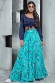 Blue Rayon Puff Sleeved Fancy Crop Top with Floral Printed Skirt