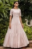Light Pink Georgette Anarkali Kurti with Thread Embroidery