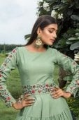 Pista Green Georgette Anarkali Kurti with Embroidered Sleeves and Belt