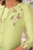 Parrot Green Cotton Silk Embroidered Kurti with Pant