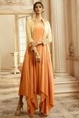 Peach Rayon Cotton Plain High and Low Long Kurti with Embroidered Jacket