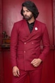 Red Viscose Polyester Suit