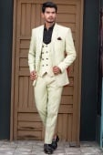 Off White Viscose Polyester 3 Piece Suit