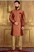 Maroon and Golden Jacquard outfits with Weaving