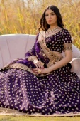 Purple Raw Silk Lehenga with Embroidered Butta and Golden Border