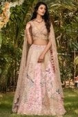 Pink Raw Silk Floral and Peacock Motifs Embroidered Lehenga Choli