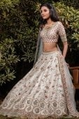 Cream Raw Silk Floral Embroidered Lehenga with Double Dupatta