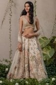 Cream Raw Silk Floral and Peacock Motifs Embroidered Lehenga