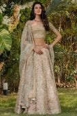 Off White Organza Floral Embroidered Lehenga