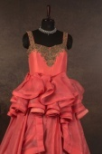 Coral Pink Organza Fancy Layered Gown with Handwork