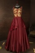 Maroon Imported Layered Anarkali Gown with Handwork