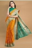 Yellow South Silk Woven Saree with Golden Border and Contrast Pallu