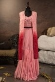 Pink Chiffon Georgette Mirror Worked Indo Western Sharara Suit with Long Jacket