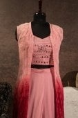 Pink Chiffon Georgette Mirror Worked Indo Western Sharara Suit with Long Shrug