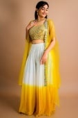 Mustard and White Raw Silk Crop Top with Long Shrug