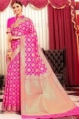 Pink Art Silk Traditional All Over Floral Woven Saree