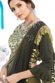 Dark Olive Green Shaded Lycra Ruffle Saree with Heavy Worked Blouse