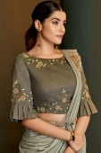 Grey Lycra Pre Stitched Fancy Ruffle Border Saree with Belt