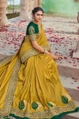 Mustard Silk Saree with Embroidered Butta and Border